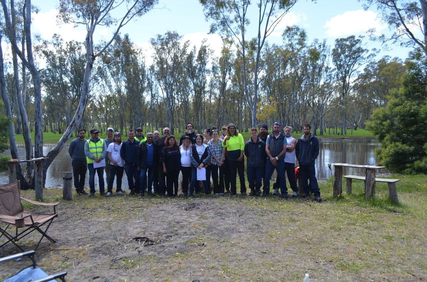 Participants on the Towards Cultural Flows Glenelg River Trip at Fulham reserve – including BGLC, Gunditjmara Traditional Owners, MLDRIN and CMA staff